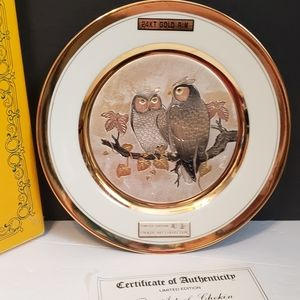 LAL Original Chokin Art Collection Plate owl